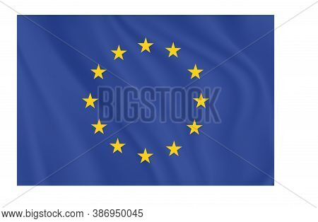 European Union Flag, Official Colors And Proportion Correctly.