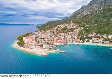 Igrane Village On Makarska Riviera And Biokovo Mountain Aerial Sea View, Dalmatia Region Of Croatia