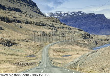 28 April 2018: South Iceland - Through The Windscreen Shot Of The Iceland Ring Road In South Island,