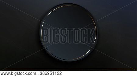Abstract Dark Composition With Gradient, Dim Light Haze, Marble Effect, Round Frame With Shiny Borde