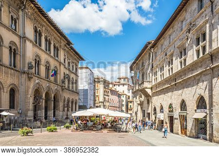 Perugia,italy - September 3,2020 - In The Streets Of Perugia. Perugia Is The Capital City Of Both Th