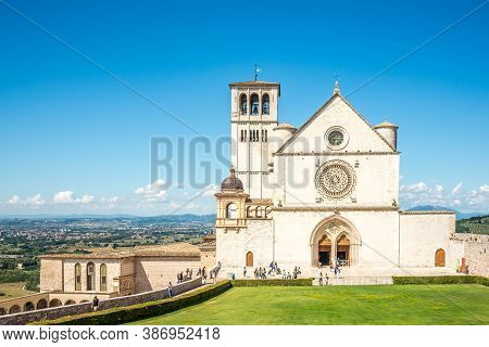 Assisi,italy - September 3,2020 - View At The Basilica Of San Francesco In Assisi. Assisi Is A Town