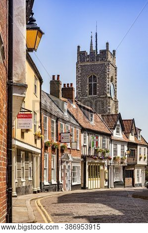 29 June 2019: Norwich, Norfolk - Princes Street Is A Historic Cobbled Street In The Centre Of Norwic