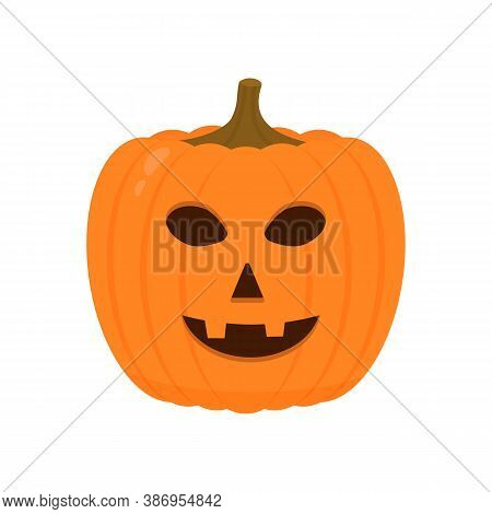 Halloween Pumpkin With Smiling Face Icon Isolated On White. Cute Cartoon Jack-o -lantern. Halloween