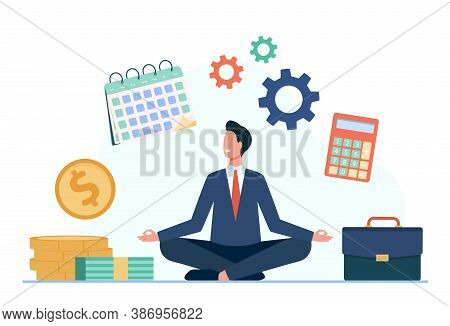 Happy Businessman Doing Yoga At Work. Employee In Suit Sitting In Lotus Pose And Keeping Hands In Ze