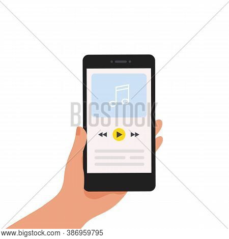 Music App. Mobile Application With Playlist Or Online Radio. Media Player Navigation Screen With But