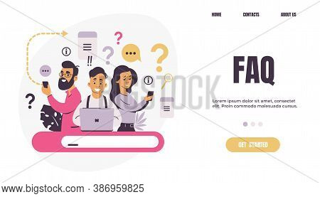 Question Landing Page. Faq. People Ask Frequent Questions. Men And Women Finding Information In Inte