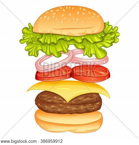 Burger With Flying Ingredients Include Bun, Tomato, Salad, Cheese, Onion, Cutlet. Vector Color Illus