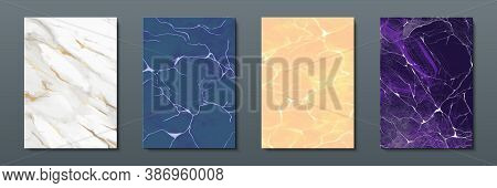 Marble Banners. Abstract Painted Backgrounds With Colored Liquid Textures In White And Gold, Blue, Y