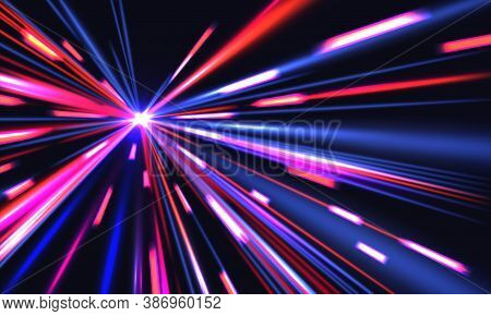 Light Speed Trails. Cyberpunk Background With Blurred Motion City Shine Effect. Multiplicity Of Blue