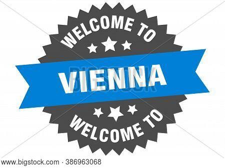 Vienna Sign. Welcome To Vienna Blue Sticker