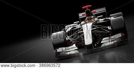 Fast racing sportscar on black. Super car 3D illustration.