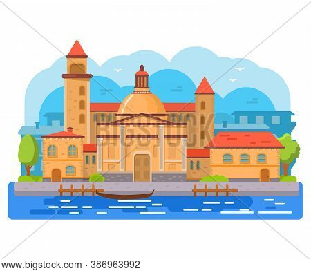 Venice City Of Italy Gondola.travel Or Post Card Template.cathedral And Tower.