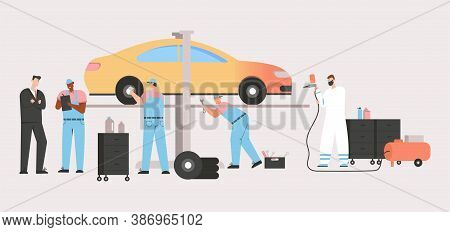 Technicians Team Inspect Vehicle, Car Repair Agreement, Airbrush Painting