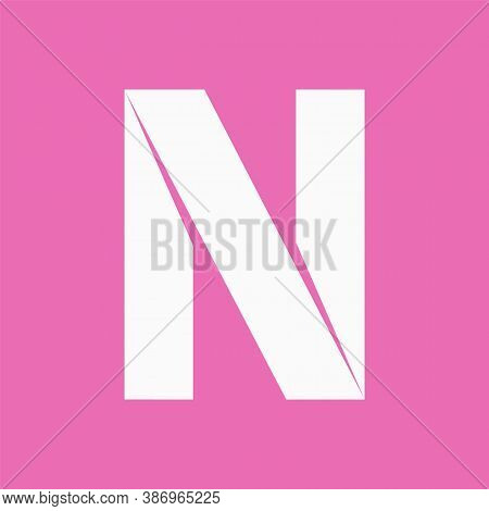 Letter N Cut Out From White Paper
