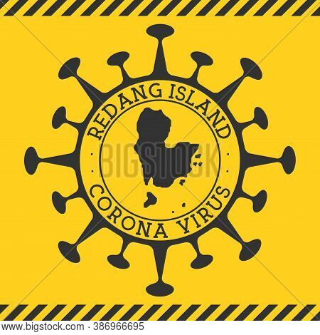 Corona Virus In Redang Island Sign. Round Badge With Shape Of Virus And Redang Island Map. Yellow Is