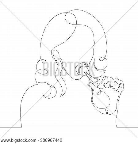 One Continuous Drawing Line Logo Beautiful Teen Woman Sucks Round Lollipop .single Hand Drawn Art Li