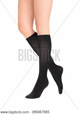 Calves Or Medical Compression Stockings For Varicose Veins And Venouse Therapy. Compression Hosiery.
