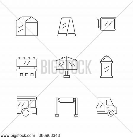 Set Line Icons Of Outdoor Advertising Isolated On White. Billboard, Transport Advertisement, Promoti