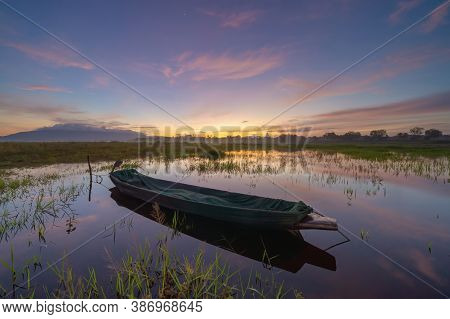 Boat In Bang Pra Reservoir Dam. National Park With Reflection Of River Lake, Mountain Valley Hills A