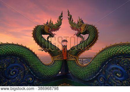Head Of Naga Snake In Wat Khao Phra Kru Temple, Si Racha District, Chonburi, Thailand. Landmark Tour
