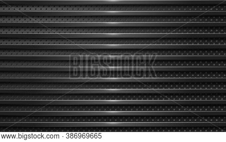 Industrial Background. Black Surface With Different Textures. Perforated Metal And Brushed Steel. Ep