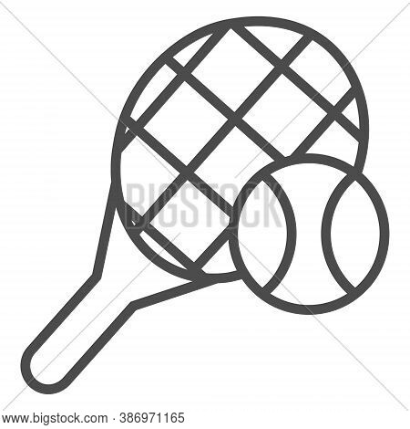 Tennis Racket Line Icon Concept. Tennis Racket Vector Linear Illustration, Symbol, Sign