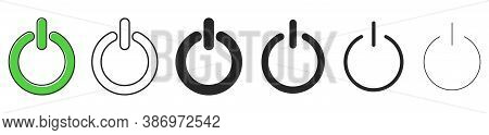 Off And On Buttons. Set Of Start Power Buttons. Vector Illustration. Power Icons In Flat Design