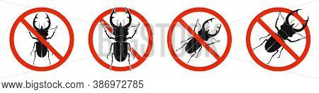 The Stag Beetle With Red Ban Sign. Stop Stag Beetle Beetle Sign Isolated. Set Of No Kill Of Stag Bee