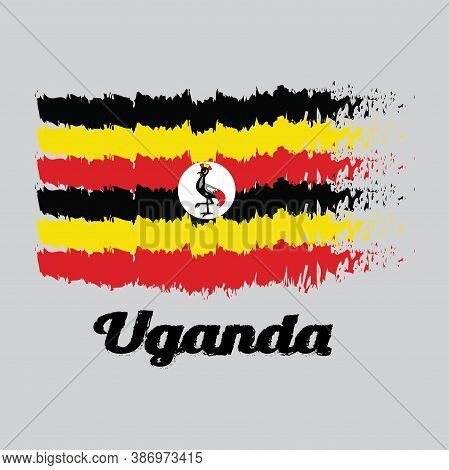 Brush Style Color Flag Of Uganda, Black Yellow And Red ; A White Disc Depicts The National Symbol, A