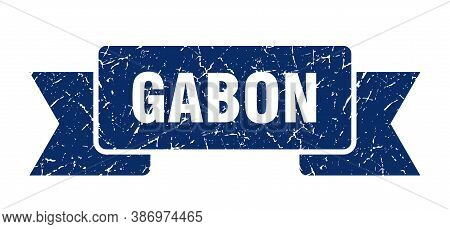Gabon Ribbon. Blue Gabon Grunge Band Sign