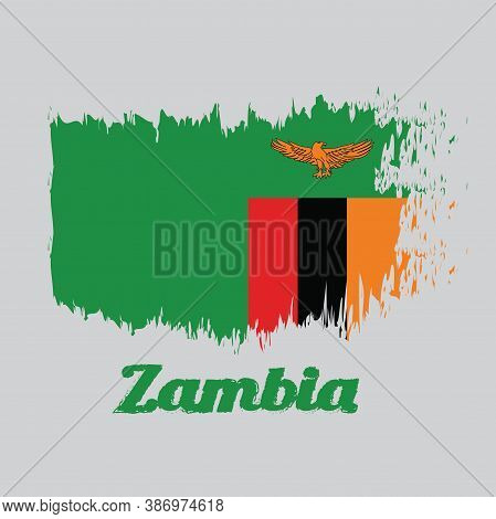Brush Style Color Flag Of Zambia, A Green Field With An Orange Colored Eagle In Flight Over A Rectan