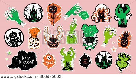Halloween Sticker Pack Set Or Scrap Booking Elements, Badges, Magnets. Stickers With Ghost, Jack O L