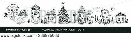 Set Of Houses In Hand Drawn Doodle Style. Street With Different Types Of Houses - Cottage, Mansion,