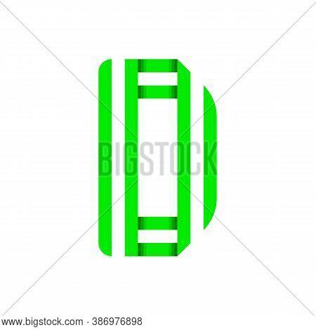 Striped Font, Modern Trendy Alphabet, Letter D Folded From Green Paper Tape, Vector Illustration