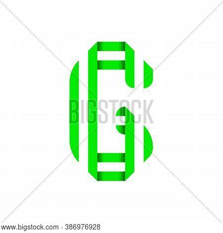 Striped Font, Modern Trendy Alphabet, Letter G Folded From Green Paper Tape, Vector Illustration