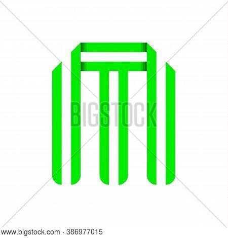 Striped Font, Modern Trendy Alphabet, Letter M Folded From Green Paper Tape, Vector Illustration
