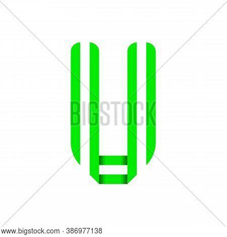 Striped Font, Modern Trendy Alphabet, Letter U Folded From Green Paper Tape, Vector Illustration