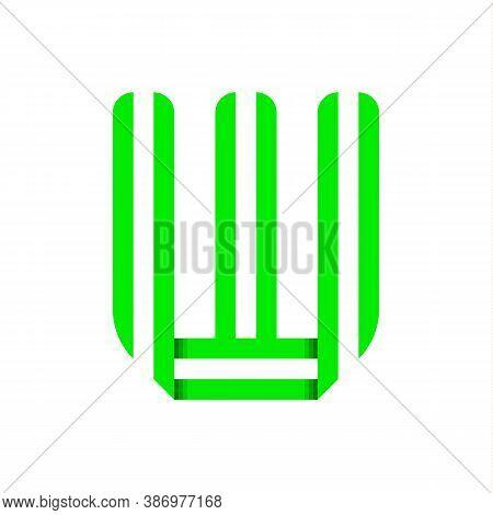 Striped Font, Modern Trendy Alphabet, Letter W Folded From Green Paper Tape, Vector Illustration