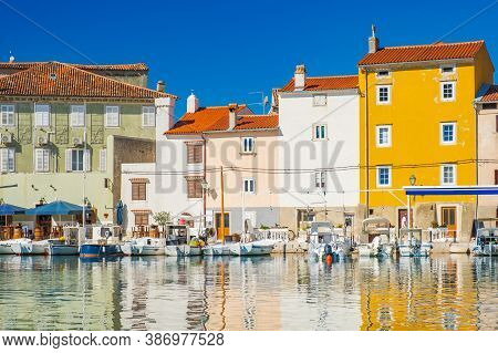 Waterfront And Old Houses In The Old Town Of Cres, Waterfront, Island Of Cres, Kvarner, Croatia