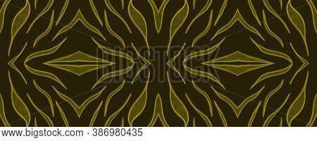 Seamless Safari Wallpaper. Fashion Wildlife Texture. Golden Animal Skin Pattern. Watercolor Stripes.