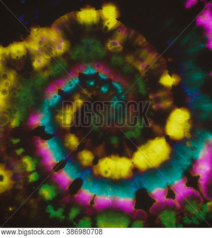Circular Old Style. Color Design. Psychedelic Tie Dye. Hippie Art Texture. Magic Artistic Shirt. Tie