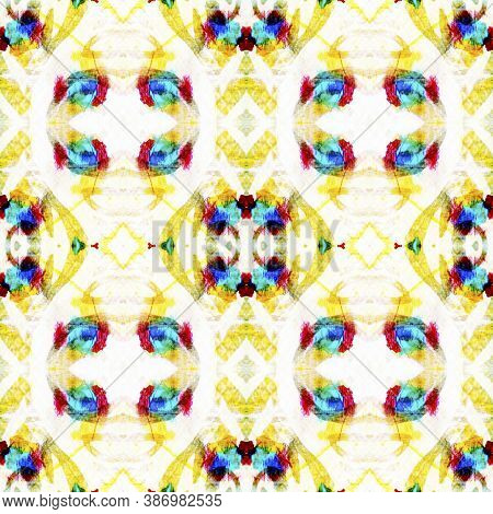 Geometric Rug Pattern. Abstract Shibori Print. Yellow, Blue And White Seamless Texture. Repeat Tie D