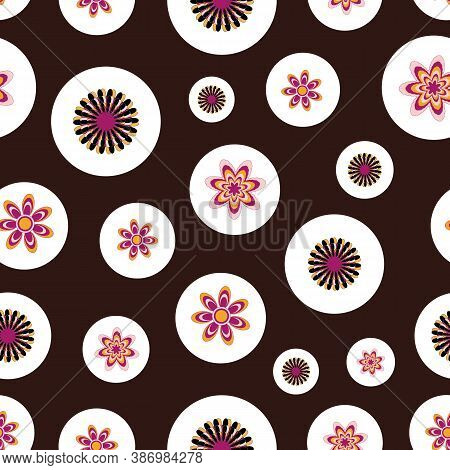 Colorful Handdraw Fantasy Retro Flowers Repeat Pattern Print Background