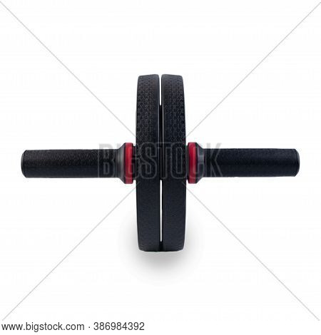 Ab Roller Isolated On White Background. Dual Ab Roller Made Of Black Plastic. Abs Roll Out Exercise