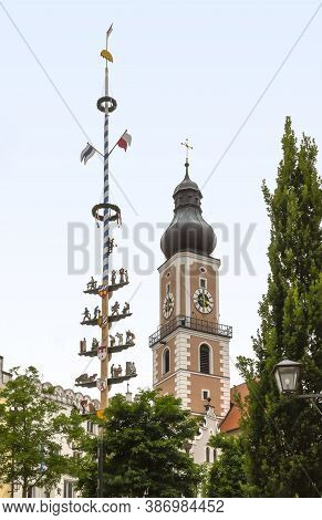 Impression Of Cham In Bavaria With Steeple And Guild Tree