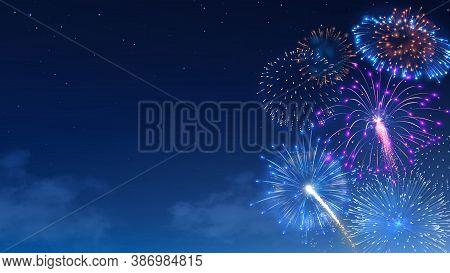 Festival Firework Show, Colorful Bright Banger And Firecracker Burst. Christmas Celebration Realisti