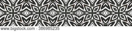 Ethnic Aztec Pattern. Seamless Tie Dye Ornament. Ikat Russia Design. Abstract Batik Motif. Black And
