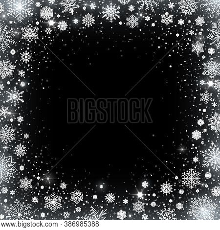 Cold Blizzard, Winter Snowflakes And Shiny Glitter Snow. Frozen Border With Ice Particles Around Vec