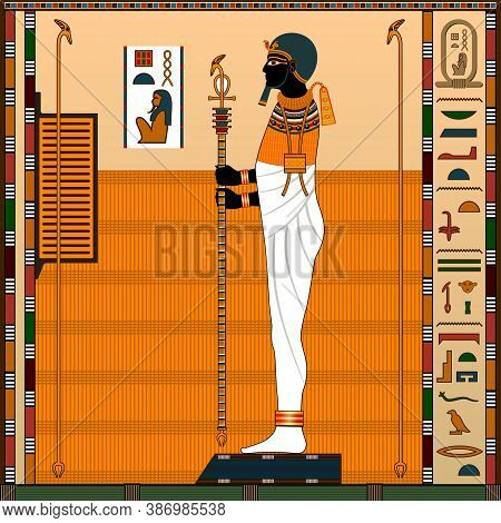 Religion Of Ancient Egypt. Ancient Egyptian God Ptah. God-creator, Patron Of Artists And Craftsmen.